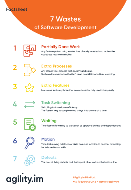 7 wastes of software development factsheet