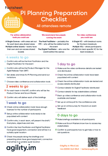Remote PI Planning Preparation Checklist Factsheet